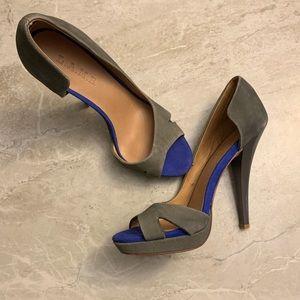 "L.A.M.B. Grey blue d'orsay peep toe 5"" heels"